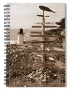 Sign At Point Montara Lighthouse - Sepia Spiral Notebook