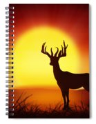 Silhouette Of Deer With Big Sun Spiral Notebook