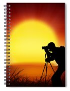 Silhouette Of Photographer With Big Sun  Spiral Notebook