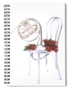 Silver French Horn On Silver Chair Spiral Notebook