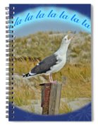 Singing Seagull Christmas Card Spiral Notebook