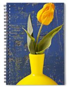 Single Yellow Tulip In Yellow Vase Spiral Notebook
