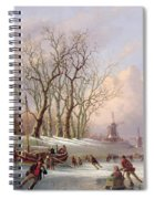 Skaters On A Frozen River Before Windmills Spiral Notebook