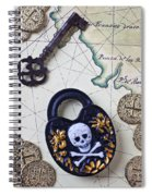 Skull And Cross Bones Lock Spiral Notebook