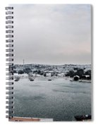 snow in port mahon - A very rare image of a mediterranean villa sided to sea covered of white Spiral Notebook