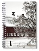 Snowy Red Barn Spiral Notebook