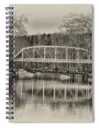 Snyder Road Bridge At Green Lane Park In Sepia Spiral Notebook