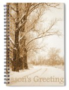 Soft Sepia Season's Greetings Spiral Notebook