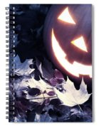 Spooky Jack-o-lantern On Fallen Leaves Spiral Notebook