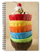 Stack Of Colored Bowls With Ice Cream On Top Spiral Notebook