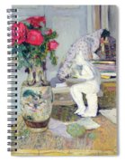 Statuette By Maillol And Red Roses Spiral Notebook