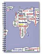 Steve Jobs Apple World Map Digital Art Spiral Notebook