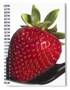 Strawberry On A Black Spoon Against White No.0003 Spiral Notebook
