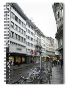 Street In Lucerne With Cycles And Rain Spiral Notebook