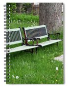 Summer Bench And Dandelions Spiral Notebook