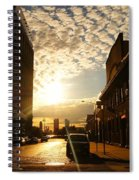 Summer Sunset Over A Cobblestone Street - New York City Spiral Notebook