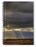Sun Rays Through Clouds Over Three Old Spiral Notebook