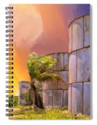 Sunset And Abandoned Oil Tanks Spiral Notebook