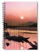 sunset at Mae Khong river Spiral Notebook