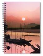 sunset at Mae Khong river Spiral Notebook