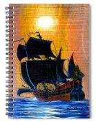 Sunship Galleon On Wood Spiral Notebook