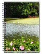 Swans On Pond And Hibiscus With Oil Painting Effect Spiral Notebook