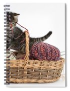 Tabby Kitten Playing With Knitting Wool Spiral Notebook