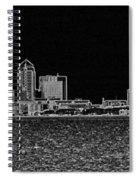 Tampa Panorama Digital - Black And White Spiral Notebook