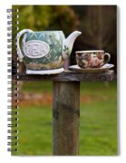 Teapot And Tea Cup On Old Post Spiral Notebook