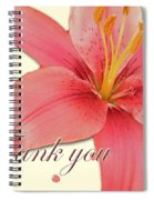 Thank You Card - Pink Lily Spiral Notebook