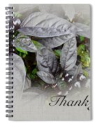 Thank You Card - Silver Leaves And Berries Spiral Notebook