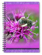 Thank You Greeting Card - Bumblebee On Ironweed Spiral Notebook