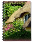 Thatched Cottage With Pink Flowers Spiral Notebook