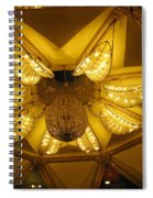 The Beautifully Lit Chandelier On The Ceiling Of The Iskcon Temple In Delhi Spiral Notebook