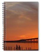 The Biloxi Bay Bridge At Sunset Spiral Notebook