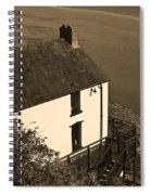 The Boathouse At Laugharne Sepia Spiral Notebook