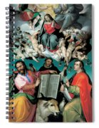 The Coronation Of The Virgin With Saints Luke Dominic And John The Evangelist Spiral Notebook
