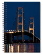 The Mackinaw Bridge At Night By The Straits Of Mackinac Spiral Notebook