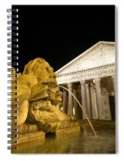 The Pantheon At Night. Piazza Della Rotonda.rome Spiral Notebook