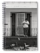 The Pigeon Lady - Black And White Spiral Notebook
