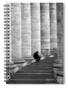 The Reader Amidst The Columns Bw Spiral Notebook