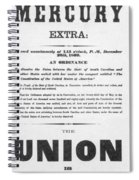 The Union Is Dissolved, 1860 Broadside Spiral Notebook