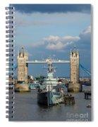 Tower Bridge With Hms Belfast Spiral Notebook