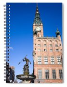 Town Hall And Neptune Fountain In Gdansk Spiral Notebook