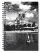 Toy Boating In A Parisian Park Bw Spiral Notebook