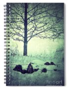 Tree And Fence In The Fog And Snow Spiral Notebook