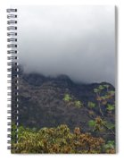 Trees And Leaves At The Base Of A Mountain With Clouds And Mist Covering The Top Spiral Notebook