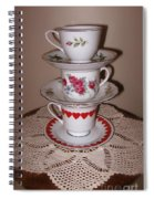 Trio Of Valentine Tea Cups  Spiral Notebook