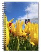Tulips In A Field And A Windmill At Spiral Notebook