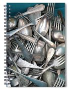 Turquoise Box Of Silverware Spiral Notebook